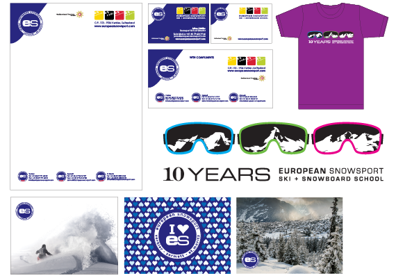 My work for European Snowsports includes; Style guide, post cards, stationary, t-shirts and posters.