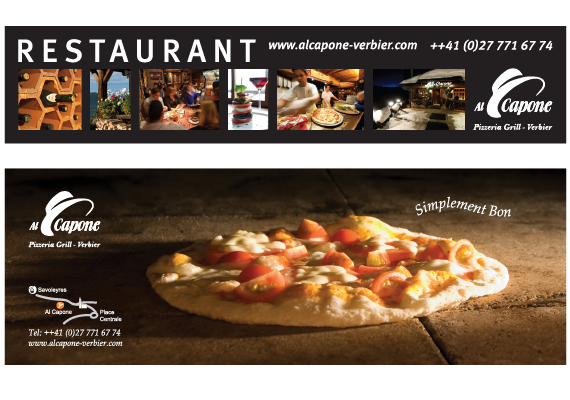 Design of the main billboard on the road outside the restaurant and the Verbier Life magasine adverts.